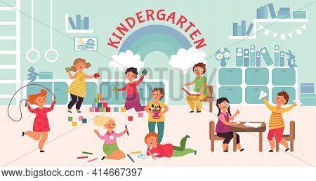 Fun Kindergarten Characters. Kids Imagination Development, Children Room In Hospital. Cartoon Presch