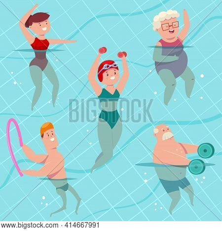 Group Aqua Aerobics In Swimming Pool. Young And Elderly Men And Women Doing Aquagym Exercise. Vector