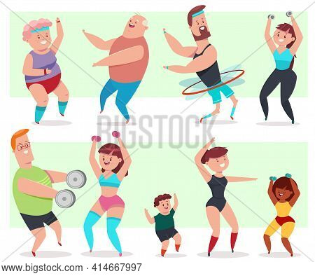 Fitness Young And Elderly Men, Women And Children Doing Exercise. People Workout Vector Cartoon Char