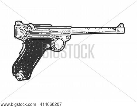 Luger Parabellum Pistol Historical Sketch Engraving Vector Illustration. T-shirt Apparel Print Desig