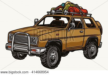 Travel Suv Car With Camping Accessories In Vintage Style Isolated Vector Illustration