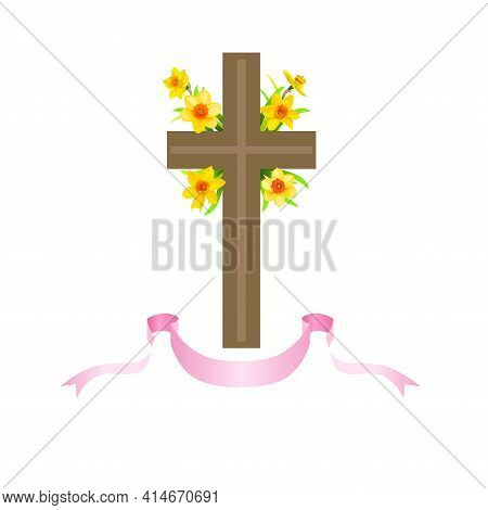 Festive Floral Composition With Cross, Ribbons And Daffodils. Easter Elements For Decorate Card, Ban