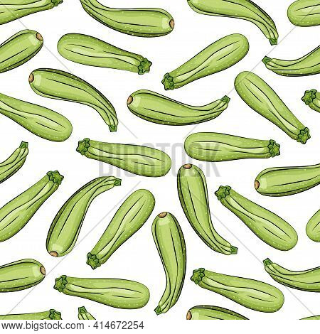 Zucchini Vector Seamless Pattern On A White Background For Packing, Wrapping, Labels And Backdrop. V
