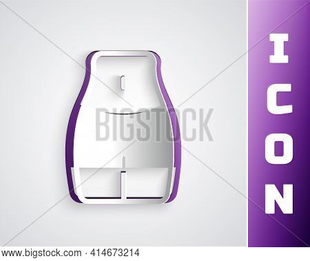 Paper Cut Women Waist Icon Isolated On Grey Background. Paper Art Style. Vector