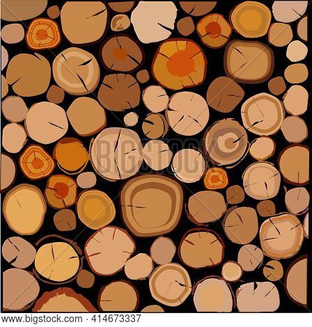 Cut Trees. Round Firewood Of Different Sizes, Lay In A Neat Pile. In The Background There Is A Black