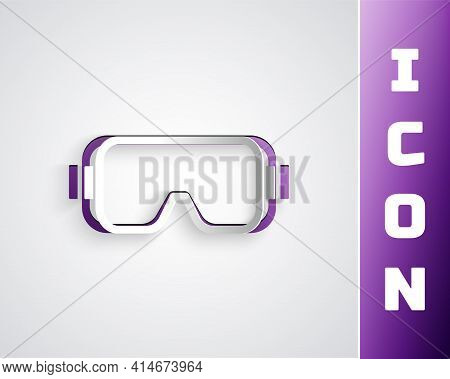 Paper Cut Diving Mask Icon Isolated On Grey Background. Extreme Sport. Diving Underwater Equipment.