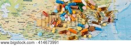 Top View Of Plenty Of Pills On Map, Ecology Concept, Banner.