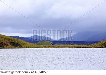 Myvatn / Iceland - August 26, 2017: Lake Myvatn Area, Iceland, Europe