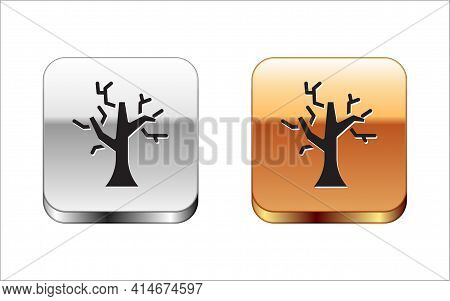 Black Withered Tree Icon Isolated On White Background. Bare Tree. Dead Tree Silhouette. Silver-gold