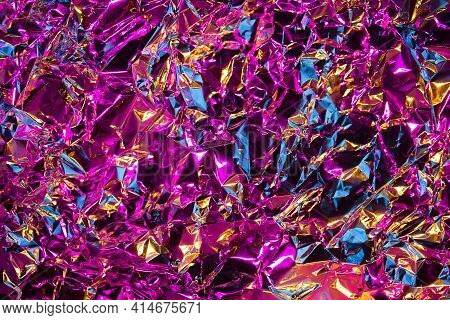 Fashion Metal Chrome Texture Of Crumled Silver Foil With Mix Of Pink, Blues And Gold Colors. Modern