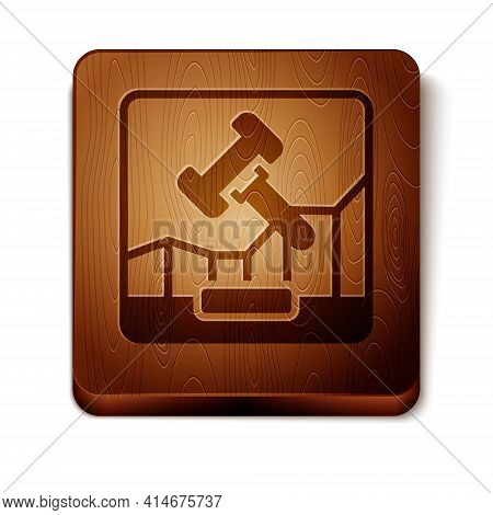 Brown Online Internet Auction Icon Isolated On White Background. International Trade Concept. Invest