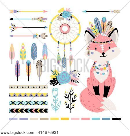Fox With Feathers And Arrows. Cartoon Funny Mammal With Cute Tail, Vector Illustration Decorations O