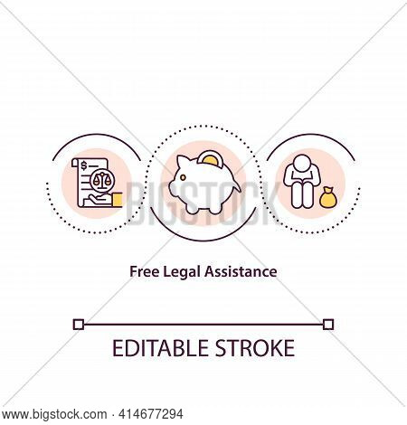 Free Legal Assistance Concept Icon. Law Service For Low Income Person. Counseling And Advisory. Nota