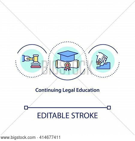 Continuing Legal Education Concept Icon. Study In Law School, College Reentry. Academic Degree Idea