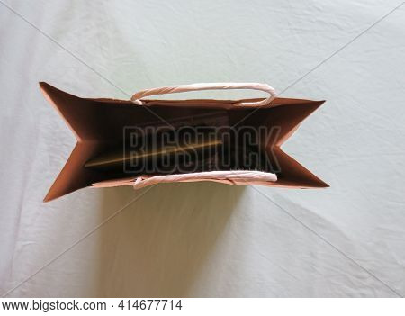 Paper Bag For Gifts Or Food Such As Vegetables And Bread