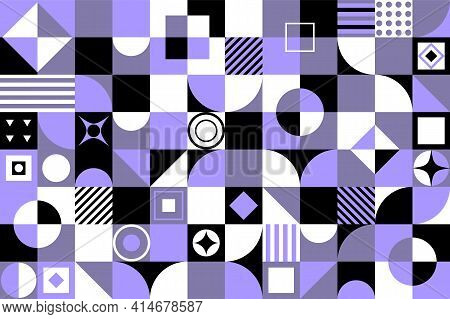 Neo Geo Vector Background. Geometric Pattern , With Abstract Geometric Circles, Triangles,squares An