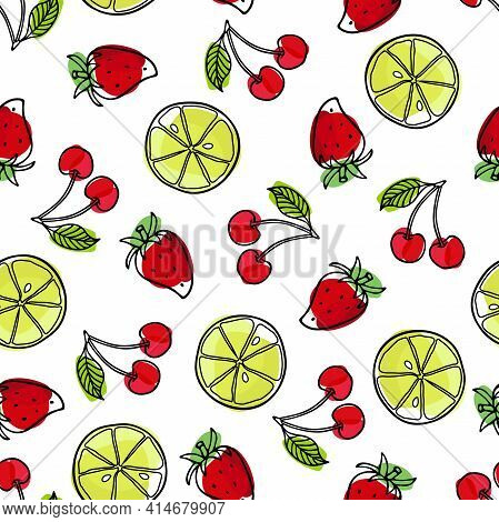 Summer Seamless Pattern. Strawberry, Lime, Cherry. Bright Berry. Outline Vector Illustration. Organi