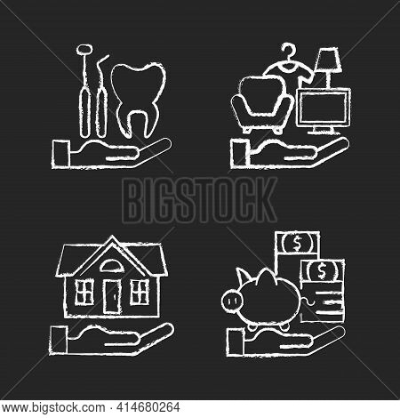 Insurance And Protection Chalk White Icons Set On Black Background. Dental Care. Property Coverage.