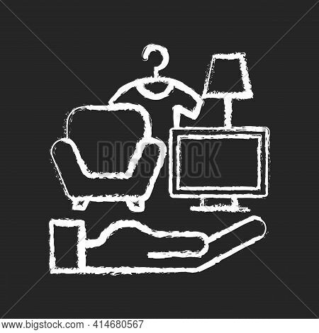 Possessions Insurance Chalk White Icon On Black Background. Contents Insurance Policy. Valuable Pers