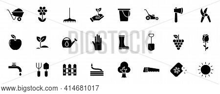 Gardening Silhouette Vector Icons Isolated On White. Garden Icon Set For Web, Mobile Apps, Ui Design