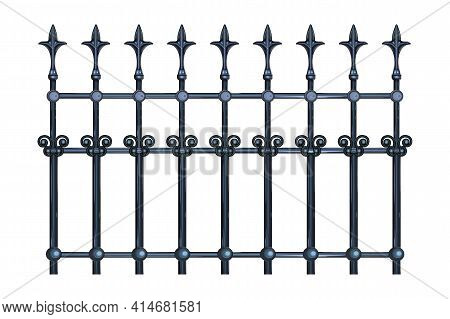 Decorative Cast Iron Wrought Fence With Artistic Forging Isolated On White Background. Metal Guardra