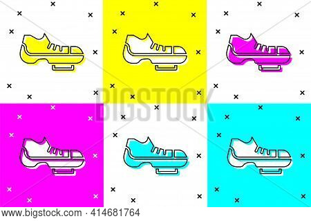 Set Triathlon Cycling Shoes Icon Isolated On Color Background. Sport Shoes, Bicycle Shoes. Vector