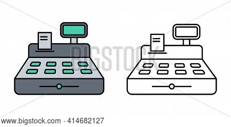 Cash Register Color Flat Outline Illustration Isolated On White Background. Cash Register With Price