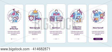 Self-development Tips Onboarding Mobile App Page Screen With Concepts. Improving Yourself Walkthroug