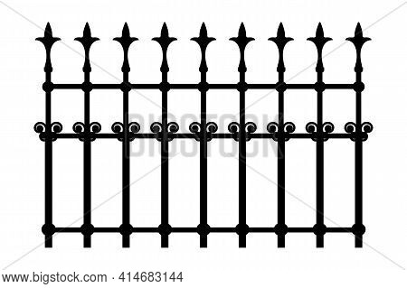 Decorative Cast Iron Wrought Fence Silhouette With Artistic Forging Isolated On White Background. Me