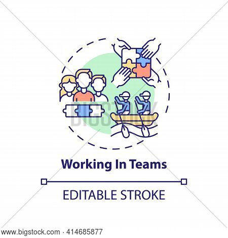 Working In Teams Concept Icon. Cooperative Effort. Collaboration To Achieve Goals. Self Development