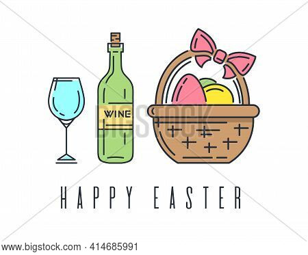 Easter Line Logo Icon With Bottle Of Wine And Basket With Easter Eggs. Vector Illustration
