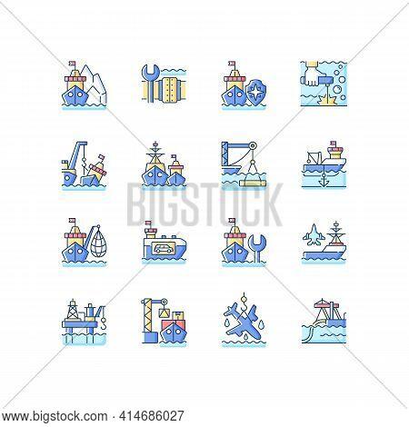 Marine Industry Rgb Color Icons Set. Arctic Exploration. Underwater Pipeline Repair. Maritime Securi