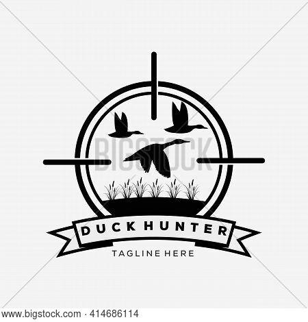 Flying Duck Symbol. Duck Hunter Logo Vector Illustration Design
