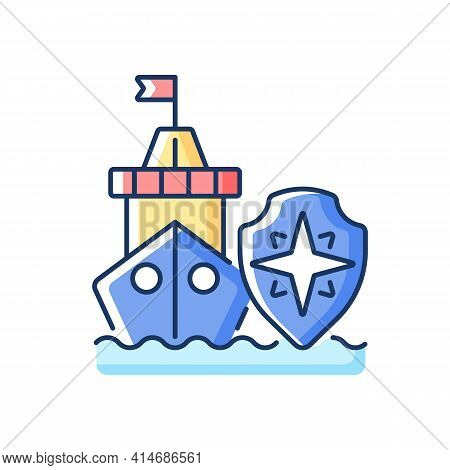 Maritime Security Rgb Color Icon. Marine Environment Protection. Preventing Maritime Terrorism, Traf
