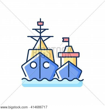 Naval Fleet Rgb Color Icon. Military Force Unit. Warships Formation In Ocean. Warfare Ships. Naval S
