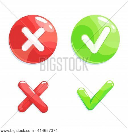 Yes And No Symbols, Confirmation Or Cancellation, Check Box List Icons Set. Green Check Mark And Red