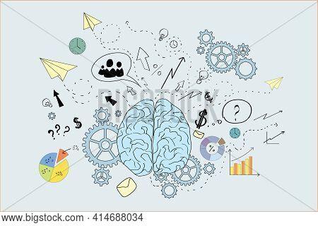 Brain Icons Sketch, Blue, White, Brainwork, Brainstorm Concept. 3d Rendering