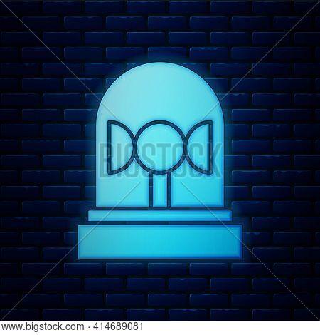 Glowing Neon Flasher Siren Icon Isolated On Brick Wall Background. Emergency Flashing Siren. Vector