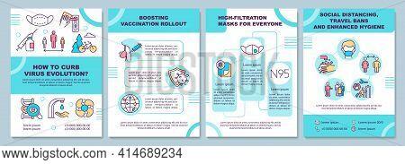 Curbing Virus Evolution Brochure Template. High-filtration Masks. Flyer, Booklet, Leaflet Print, Cov