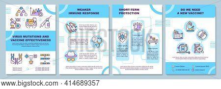 Virus Mutations And Vaccine Effectiveness Brochure Template. Flyer, Booklet, Leaflet Print, Cover De