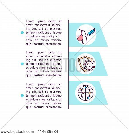 Boosting Vaccination Rollout Concept Line Icons With Text. Ppt Page Vector Template With Copy Space.