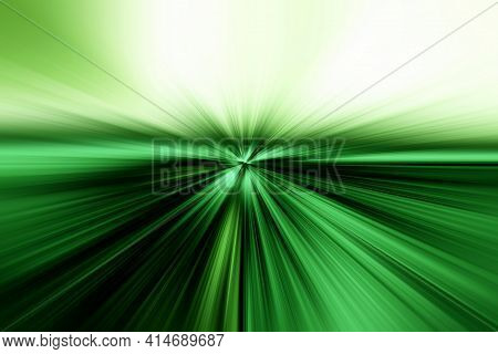 Abstract Surface Of Radial Blur Zoom   In   Green And White Tones. Bright Colorful Background With R