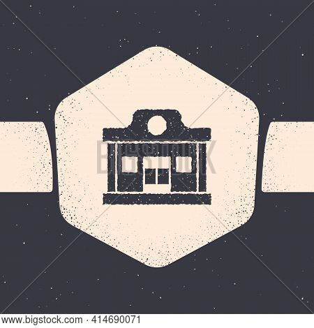 Grunge Wild West Saloon Icon Isolated On Grey Background. Old West Building. Monochrome Vintage Draw