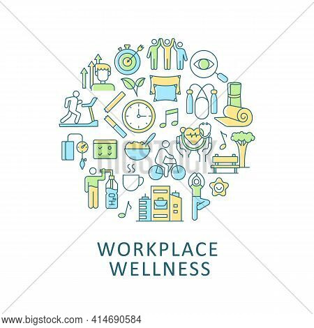 Workplace Wellness Abstract Color Concept Layout With Headline. Corporate Policy, Employee Wellbeing