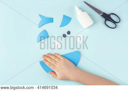 Diy And Kids Creativity. Step By Step Instruction: How To Make Shark From Paper. Step4 Bend Paper Ci