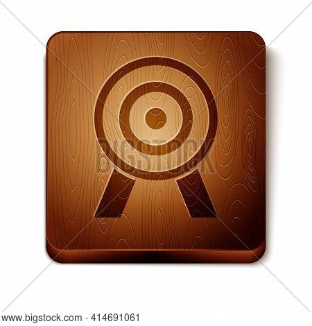 Brown Target Icon Isolated On White Background. Dart Board Sign. Archery Board Icon. Dartboard Sign.