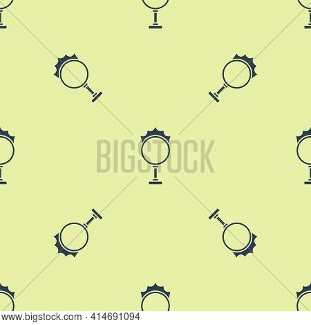 Blue Circus Fire Hoop Icon Isolated Seamless Pattern On Yellow Background. Ring Of Fire Flame. Round