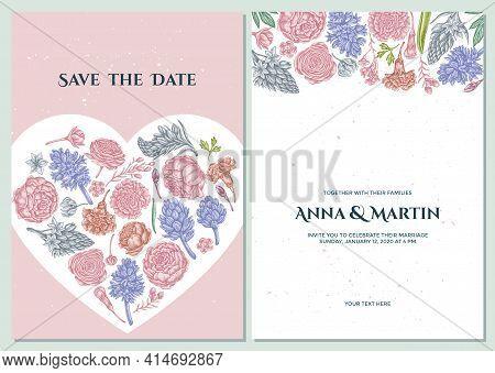 Wedding Invitation Card With Pastel Peony, Carnation, Ranunculus, Wax Flower, Ornithogalum, Hyacinth