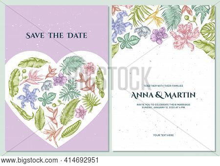 Wedding Invitation Card With Pastel Monstera, Banana Palm Leaves, Strelitzia, Heliconia, Tropical Pa