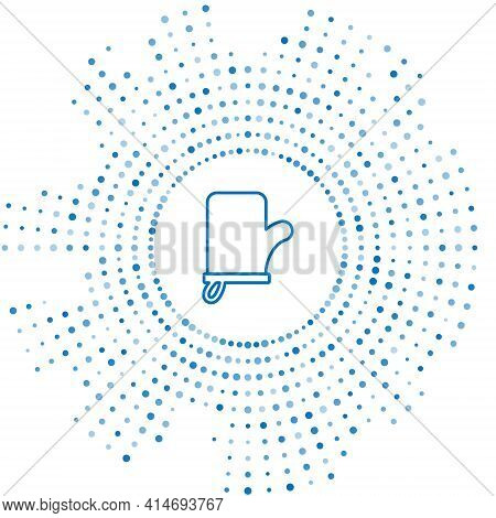 Blue Line Sauna Mittens Icon Isolated On White Background. Mitten For Spa. Abstract Circle Random Do